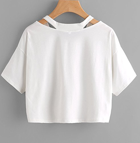 Crop Chemisiers Casual Broderie Shirts t T Tops Rose Fashion Blanc V Courtes Lache Miracleoccur Blouse Shirt Femme Manches Col wpqEx8P1