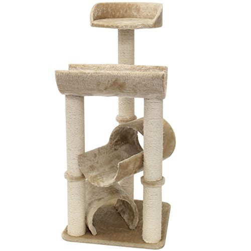 Majestic Pet Products 44 inch Beige Casita Cat Furniture Condo House Scratcher Multi Level Pet Activity (Best Majestic Pet Cat Trees)