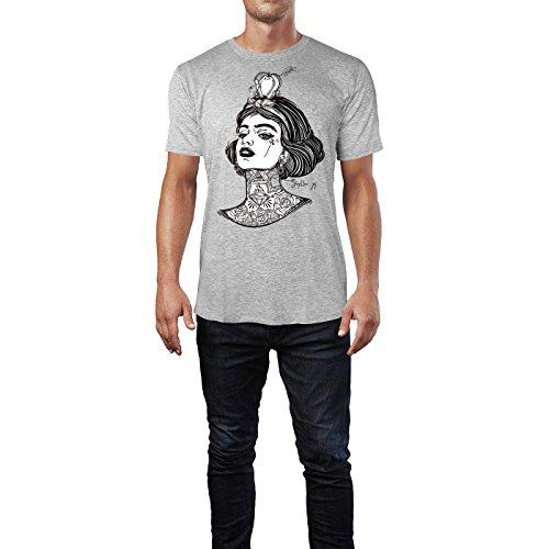 SINUS ART ® Tätowiertes Mädchen mit Apfel und Pfeil Herren T-Shirts in hellgrau Fun Shirt mit tollen Aufdruck