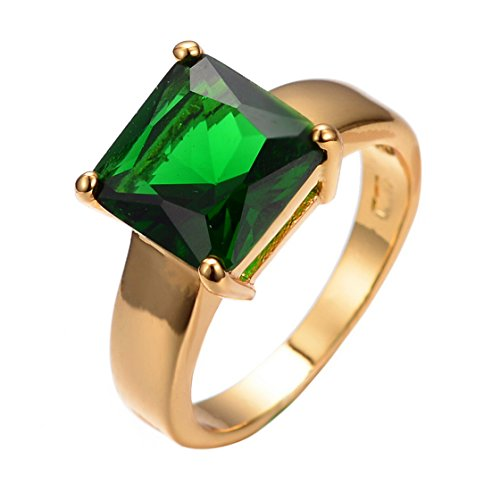PSRINGS Retro Emerald Square Zircon Stone Rings Yellow Gold Filled Wedding Party Finger Ring Vintage Jewelry - Mall Emerald The Square