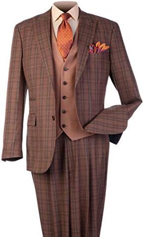 Steve Harvey Men`s 3 Piece Plaid Classic Fit SuitContrasting Vest and Single Pleat Pant