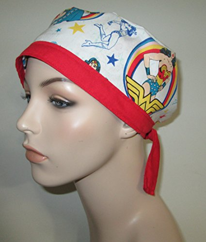 Scrub Cap FREE Ship WonderWoman Red Trim Nurses Hat Chemo (Trim Ships)