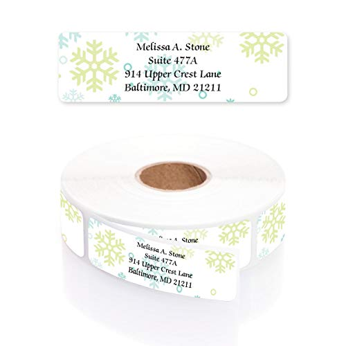 Gently Falling Snowflakes Designer Rolled Address Labels with Elegant Plastic Dispenser