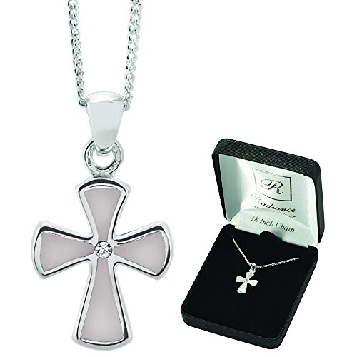 Polished Mother Of Pearl Flare Cross Sterling Silver 18-Inch Pendant Necklace