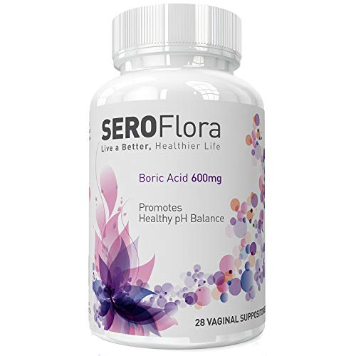 Seroflora Boric Acid Vaginal Suppositories 600mg - Bottle of 28 - pH Balance for Women - Feminine Care - Made in USA