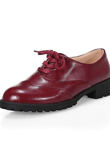 uk4 5 cn36 Zapatos eu36 eu34 mujer us6 black Tacón Bajo Comfort black Casual us4 Semicuero cn36 uk2 Punta 4 red us6 Redonda ZQ Marrón eu36 de Oxfords uk4 Rojo cn33 5 Vestido Negro 2 fqSnWwng