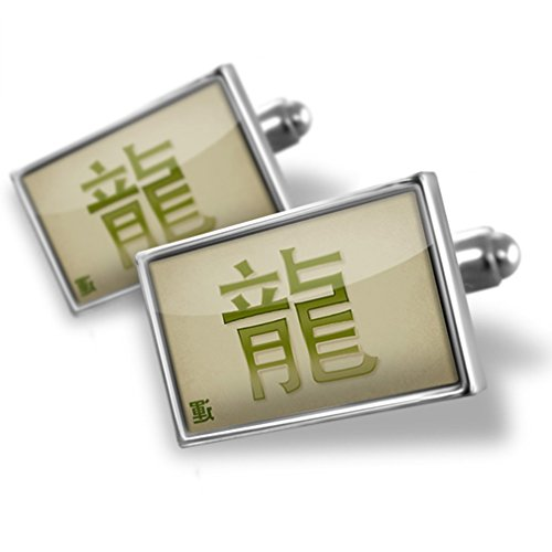 Cufflinks Dragon Chinese characters, green letter - Neonblond Dragon Green Cufflinks