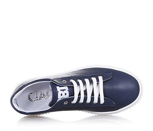 CIAO BIMBI - Blauer Schuh mit Schnürsenkeln aus Leder, auf der Zunge ein Logo, sichtbare Nähte, Jungen