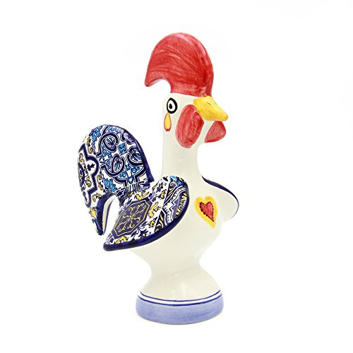 Alcoa Arte Hand-Painted Decorative Traditional Ceramic Portuguese Good Luck Rooster (Blue)