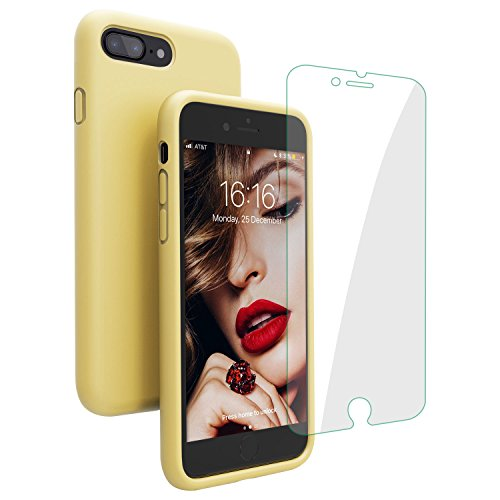 ne 8 Plus Case/iPhone 7 Plus Case, JASBON Liquid Silicone Case with Free Screen Protector Gel Rubber Shockproof Cover Full Protective Case for iPhone 8 Plus/iPhone 7 Plus-Yellow ()