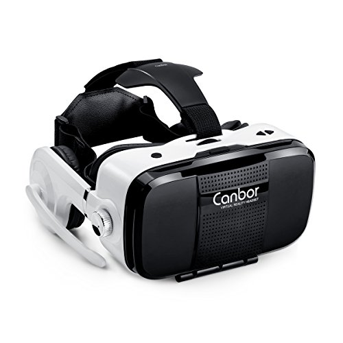 Canbor Virtual Reality Headset, VR Headset VR Goggles With Stereo Headphones VR Glasses for 3D Movies and Games Compatible with 4.7-6.2 Inches Apple iPhone, More Smartphones by Canbor