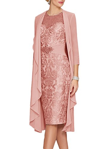 Newdeve Lace Mother of The Bride Dresses Rhinestone Belt with Chiffon Jacket Dusty Rose