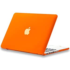 """Kuzy - Rubberized Hard Case for Older MacBook Pro 13.3"""" with Retina Display A1502 / A1425 13-inch Plastic Shell Cover - ORANGE"""
