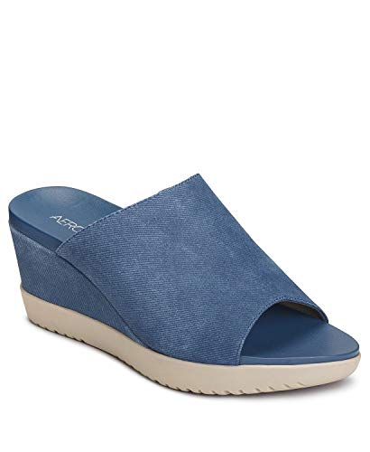 Aerosoles - Women's Blonde Wedge Sandal - Opened Toed Wedge Shoe with Memory Foam Footbed (8M - Denim)