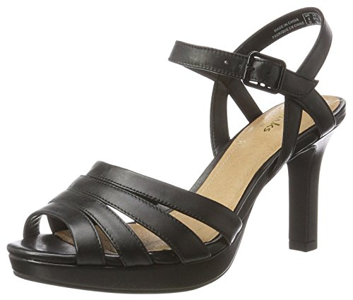Clarks Sandali con Donna Black Leather 26123088 Tacco Nero xxrwq5pBWE