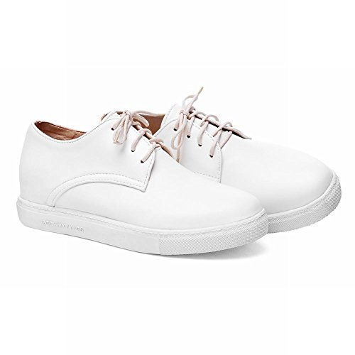 Show Glans Womens Mode Plattform Dolda Kilklack Oxfords Skor Vit