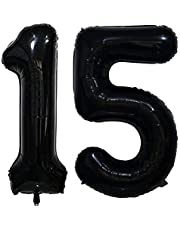Tellpet Number 15 Balloons, 15th Birthday Party Decorations Supplies Decor, Black, 40 Inch