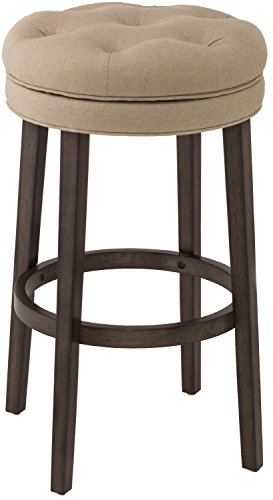 Hillsdale Fabric Bar Stool - Hillsdale Krauss Backless Swivel Counter Stool, Charcoal Gray Finish with Linen Stone Fabric