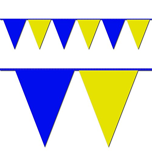 Ziggos Party Blue and Yellow Triangle Pennant Flag 100 Ft. -