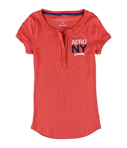 Aeropostale Womens Ribbed NY Henley Shirt, Orange, Small