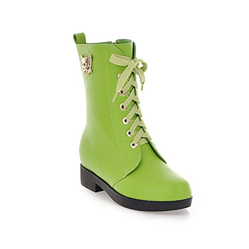 AmoonyFashion Womens Round Closed Toe Low Heels PU Soft Material Solid Boots with Metalornament and Bandage Green