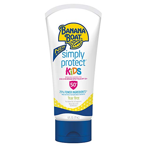 Banana Boat Simply Protect Mineral-Based Sunscreen Lotion for Kids, SPF 50+, Tear Free, 25% Fewer Ingredients, 6 Ounces (Kids Sunscreen Banana Boat)