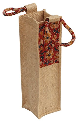 SouvNear Handmade Maroon  Beige Color Wine Bottle Holder in 100% Eco-Friendly Jute  Cotton Material with Floral Motifs with Twin Handles on the Top …