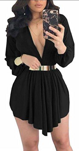 Jaycargogo Femmes Boutonnière Profonde V Cou Manches Longues Ourlet Irrégulier Mini-robe Noire