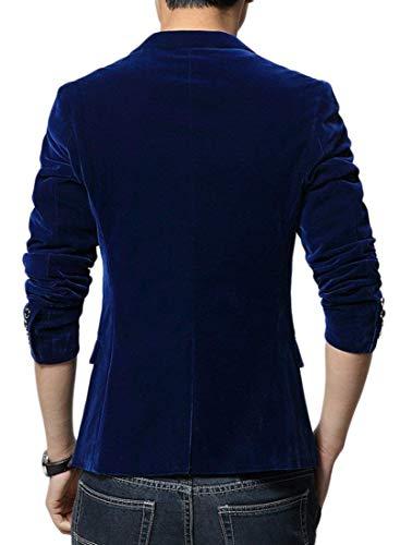 marino Blazer colore solido velluto svago slim blu di d'affari per uomini vestito fit sposa di abiti giacca velluto casual rrUfqF
