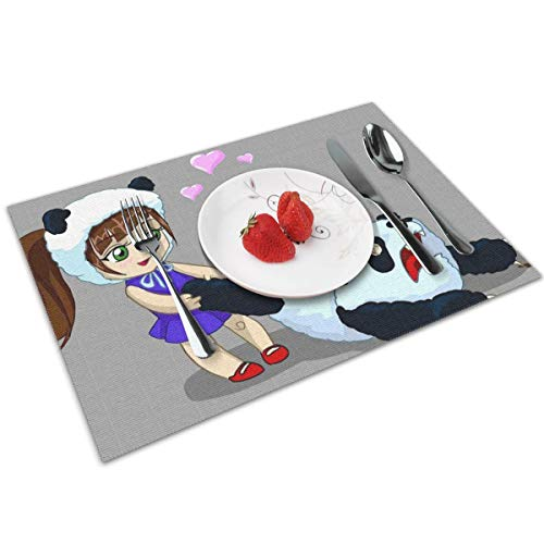 Cute Cartoon Panda Wallpaper Themed Print Pattern 4 Piece Set of Placemats Pc Party Kitchen Dining Room Home Table Place Mat Patio Holidays Decorations Decor Ornament]()
