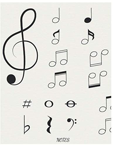 Notes: A Blank Drums/Percussion Sheet Music for Writing and Composing Your Own Songs, Chord Sheet and Tab Book for Adult/Children (8.5x11 Inch. 21.59x27.94 cm.) 120 Pages (BLACK&CREME Pattern)