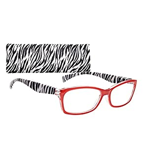 Women's Rectangular Reading Glasses With Animal Print Temples By ICU (1.75, Red)