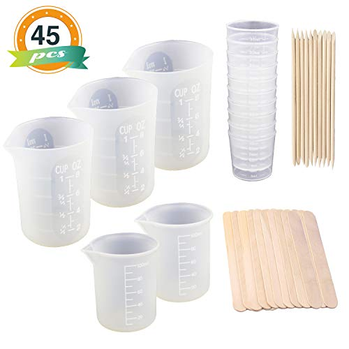 Lets Measure (3pcs 8oz Silicone Cups for Resin, LET'S RESIN Resin Tools Kit with 2pcs 100ml Silicone Measuring Cups, 10pcs 30ml Plastic Graduated Epoxy Mixing Cups and Wood Stir Sticks)