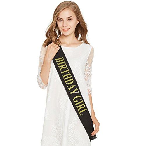 Birthday Girl Gold Glitter Black Satin Sash – Happy Birthday Party Favors, Supplies and Decorations – Sweet 16-21st Birthday - Funny Birthday Gift