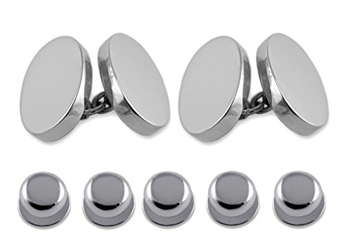 Sterling silver heavyweight double-sided oval Cufflinks Shirt Dress Studs Gift Set by Select Gifts