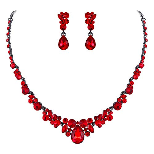 EVER FAITH Women's Austrian Crystal Luxury Ball Prom Floral Waterdrop Necklace Earrings Set Red Black-Tone