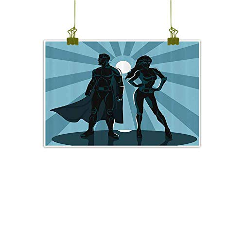 Art Prints Fine Art Poster, Man and Woman Superheroes Costume with Masks and Capes Night Protector in Moonlight Bathroom Kitchen Home Decorations - 31