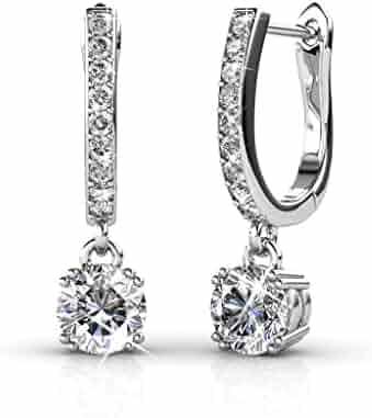 Cate & Chloe McKenzie Charming 18k White Gold Swarovski Earrings, Dangling Earrings w Solitaire Crystal, Best Silver Drop Earrings for Women, Special-Occasion-Jewelry, Channel Set Horseshoe Earrings