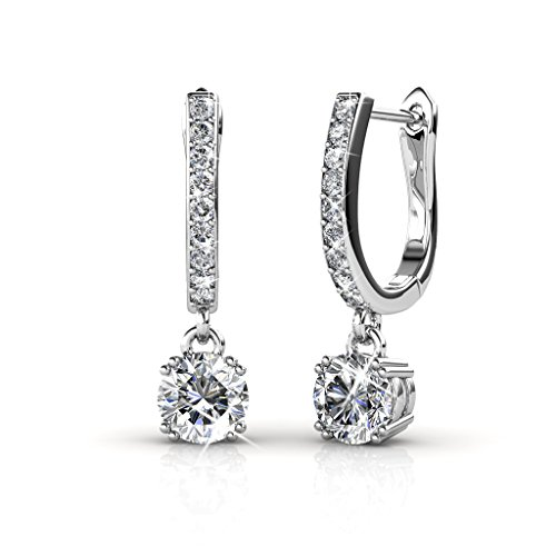 Cate & Chloe McKenzie 18k White Gold Swarovski Earrings, Solitaire Crystal Dangling Earrings, Best Silver Drop Earrings for Women, Special-Occasion-Jewelry Channel Set Horseshoe Earrings MSRP (Gold Designer Earrings)