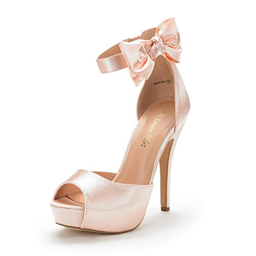 DREAM PAIRS Women's SWAN-08 Champagne Ankle Strap Heel Pump Shoes Sandals Size 8 M ()