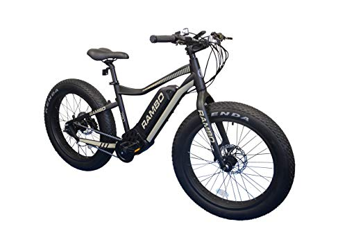 Rambo 2019 Matte Black and Tan 750W Electric Bicycle- Max Speed 19 MPH, Hydralic Disc Brakes, 3- Speed Internal Gear Ratio with 48V 10.4AH Battery