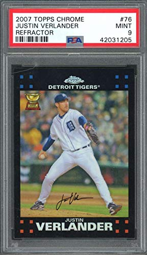 2007 topps chrome refractor #76 JUSTIN VERLANDER detroit tigers PSA 9 Graded Card ()