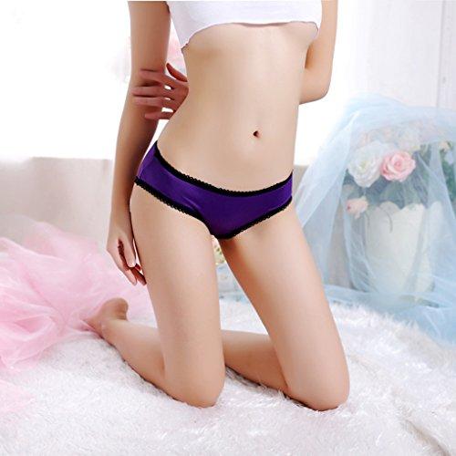 Mujeres Bowknot Bandage Hollow Back Underwears Bragas bajas cintura Briefs p¨²rpura