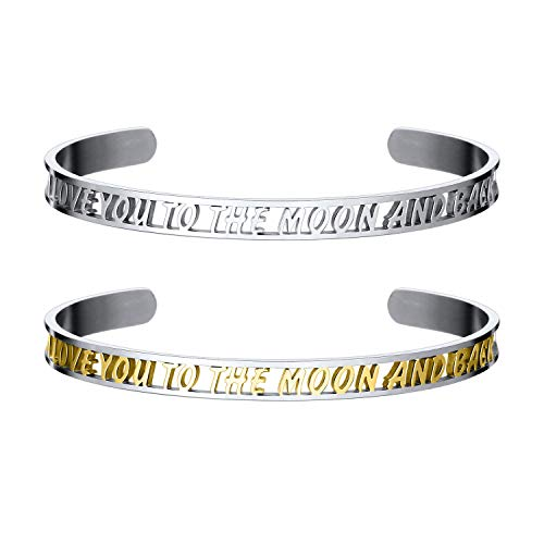BOUTIQUELOVIN Set Of 2 Inspirational Stainless Steel Cuff Bracelet Personalized Hollow Mantra Quote Bracelet