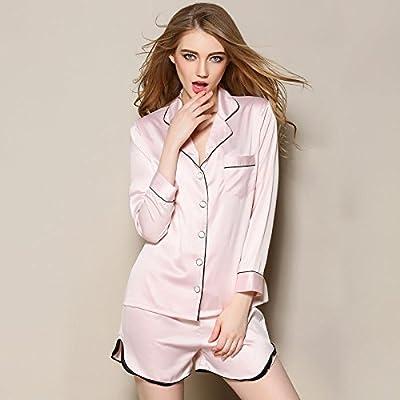 WDDGPZSY Camisa De Dormir/Camisón/Ropa De Dormir/Pijamas/Thin Section Women Pyjama Set Moda Manga Larga Topwear + Short Set Suelto Casual Mujer Pijama, Rosa Claro, XL: Amazon.es: Hogar