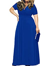 Women's Solid V-Neck Short Sleeve Plus Size Evening Party...