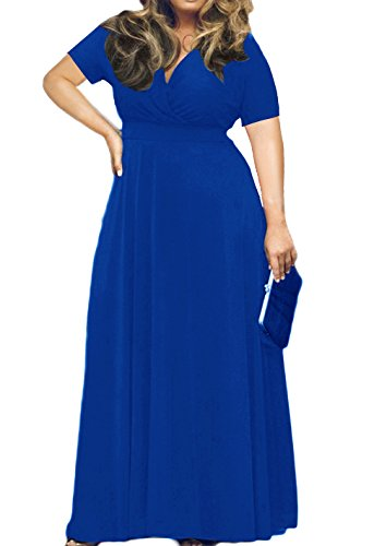 POSESHE Women's Short Sleeve Plus Size Evening Party Maxi Dress Gown Royal Blue 4XL