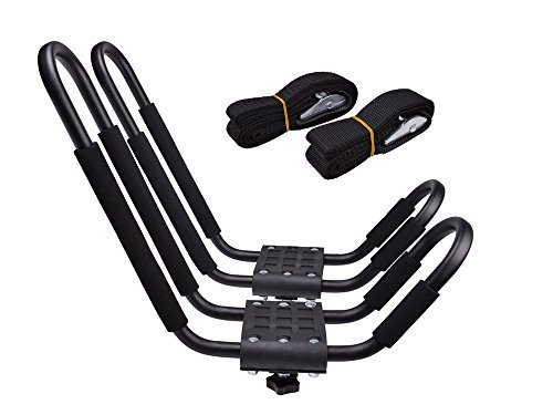 TMS J-Bar Rack HD Kayak Carrier Canoe Boat Surf Ski Roof Top Mounted on Car SUV Crossbar (Sliding Tracrac)