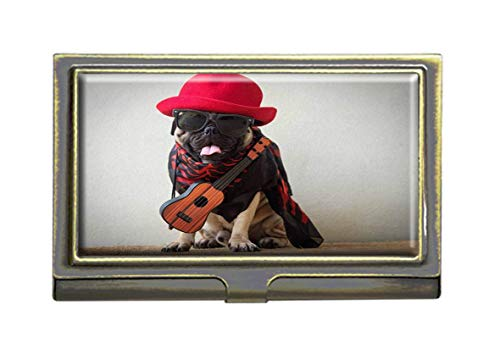 The Mexican Indy Guitarist Musician Pug Dog Business Card Holders Bank Name Case Holder Bronze Card Credit ID Case Box Pocket Wallet Purse