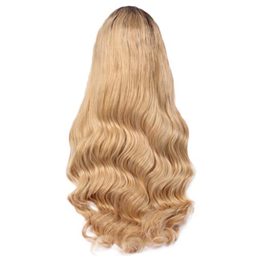 Jaromepower 26'' Long Wavy Curly Wig Dark Roots Ombre Blonde Wig Middle Parting Synthetic Replacement Wig Women's Golden Blonde Wigs Long Fluffy Curly Wavy Hair Wigs Synthetic Cosplay Wigs